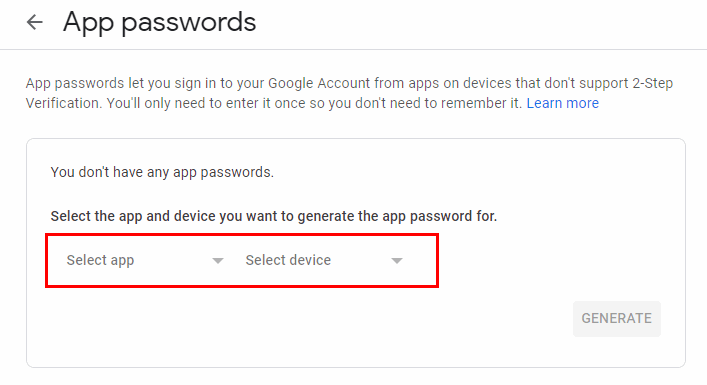 Configure email - generate app password for gmail