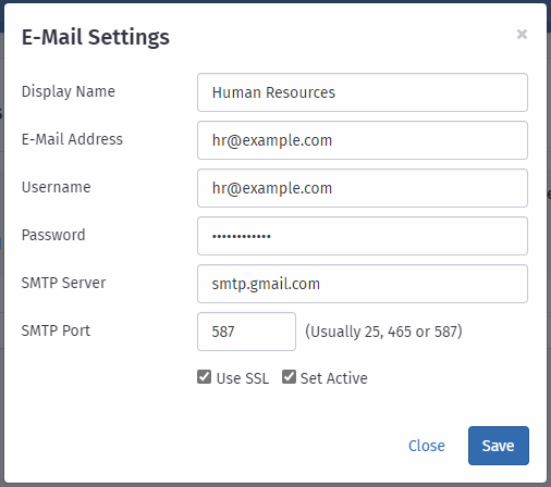Define E-Mail settings in Runtime Hrms